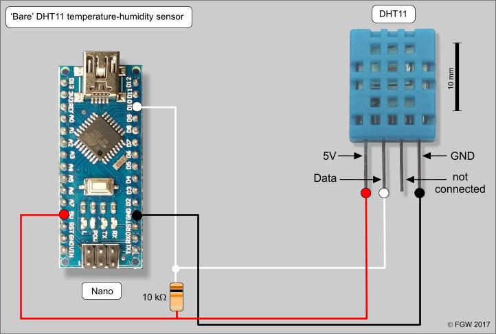 Pin Data Acquisition : Bare dht temperature and relative humidity sensor