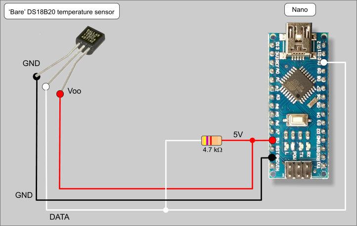 4 the ds18b20 temperature sensor implementation with an arduino rh zonnepanelen wouterlood com Arduino DS18B20 Wiring DS18B20 Arduino Pinout